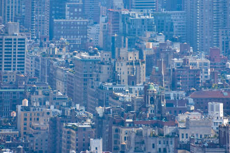 Compressed view of buildings and pollution nebula. Concept of crowded cities and pollution. NYC, USA. Stockfoto - 135066946