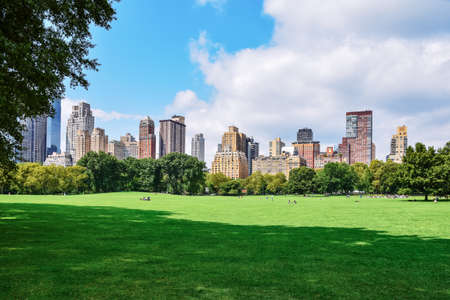 People relaxing and enjoying of a sunny day in Central Park. NYC skyline in the background. Free time leisure and travel concept. New York City. United States.