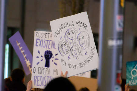 MADRID, SPAIN - MARCH 8, 2019: Massive feminist protest on 8M in favour of womens rights and equality in society. Protest posters could be seen during the demonstration, in Madrid, Spain on March 8, 2019. Sajtókép