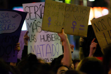 MADRID, SPAIN - MARCH 8, 2019: Massive feminist protest on 8M in favour of womens rights and equality in society. Protest posters could be seen during the demonstration, in Madrid, Spain on March 8, 2019 Sajtókép