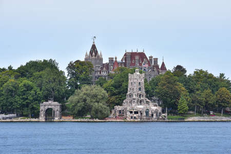 Panoramic view of Boldt castle in Heart Island. Located in the border between Canada and United States. Thousands Islands. Ontario, Canada.