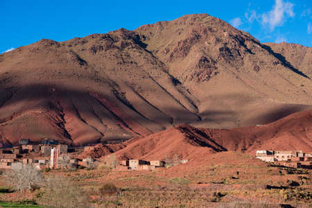 Mountain villages with their houses in the Atlas Mountains. Morocco.