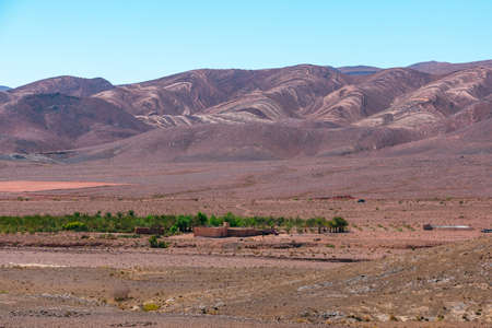 Palm tree oasis in desert terrain and mountains with tectonic foliage in the background. High Atlas. Morocco. Stockfoto