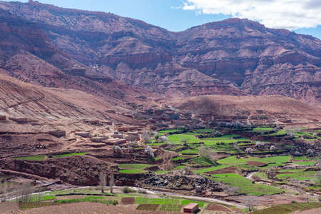 kasbah in mountain villages in the High Atlas Mountains. Morocco.