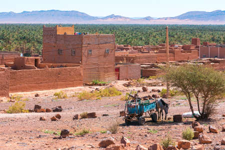 Donkey  cart and houses in the foreground and palm forest and mountains of the Draa Valley, Zagora, Morocco.