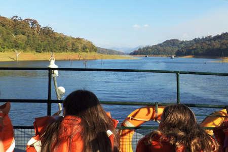 view of periyar lake from boat Stock Photo