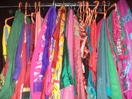 closet rod: Female clothes hanging