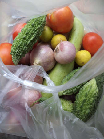Vegetables inside polythene bag photo