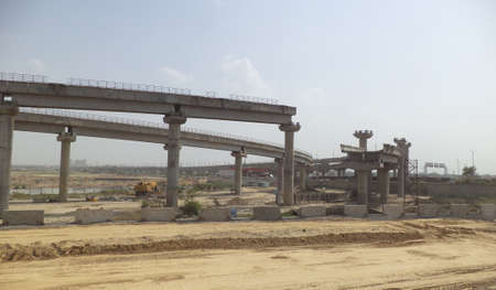 construction project: Under Construction Elevated Metro Rail Project New Delhi India