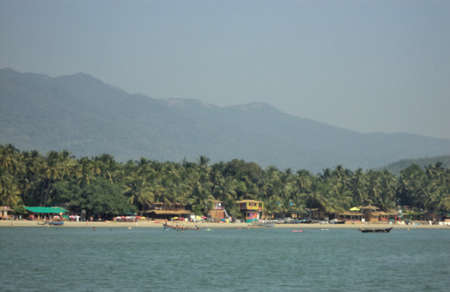 goa: Distant view of Palolem Beach, Goa from sea