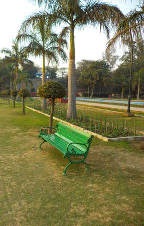 empty chair: Empty chair in a garden Stock Photo