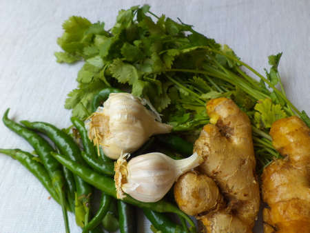 anti bacterial: Green chillies, ginger, garlic and coriander leaves