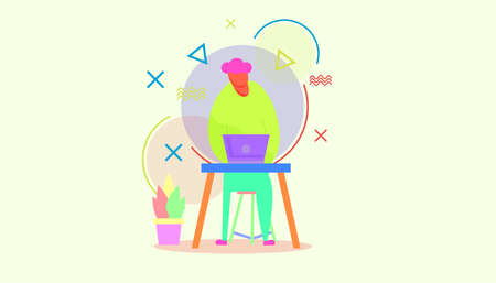 A hard working guy demonstrating hard work and work from home illustration vector design