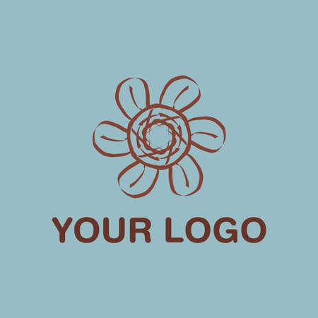 Cool Brown Flower Vector Logo Design EPS10