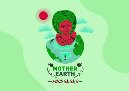 Mother earth pachamama celebration concept design, Pachamama hugs herself and half of her is a half earth with mountains and whales isolated on greenish fresh background eps10 Ilustración de vector