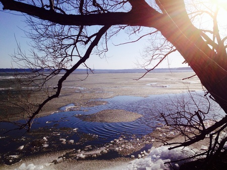 pa: Spring sunlight over Erie PA Presque Isle Stock Photo