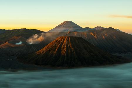 Sunrise at volcano Mount Bromo, early Stock Photo