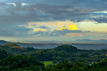surrealistic: Colorful evening at the chocolate hills
