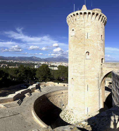 Panoram picture of Torre de Homenatge  main tower  of Castell Bellver in Palma de Mallorca