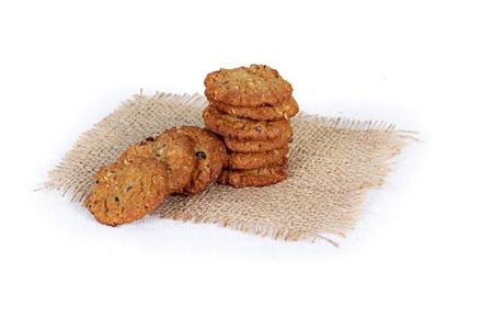 cookies on white, jute, multi grain, multigrain handmade cookies