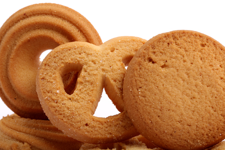 Danish butter cookies, butter cookies on white Stock Photo