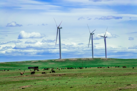 rotations: Harvesting the potential which wind holds for our planet Stock Photo