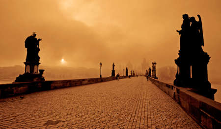 auspices: Photo of the Charles bridge in Prague, Czech republic From wiki: The Charles Bridge is a famous historical bridge that crosses the Vltava river in Prague, Czech Republic. Its construction started in 1357 under the auspices of King Charles IV, and finished