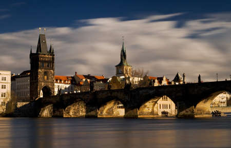 nightshot: Photo of the Charles bridge in Prague, Czech republic From wiki: The Charles Bridge is a famous historical bridge that crosses the Vltava river in Prague, Czech Republic. Its construction started in 1357 under the auspices of King Charles IV, and finished