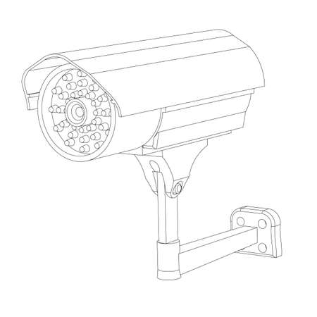 ip camera: Contour of the IP surveillance camera on a white background