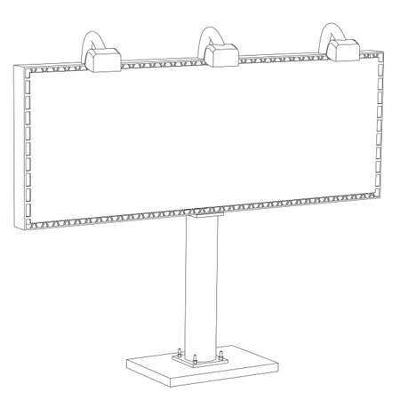 insertion: Billboard with illumination the contour isolated on a white background