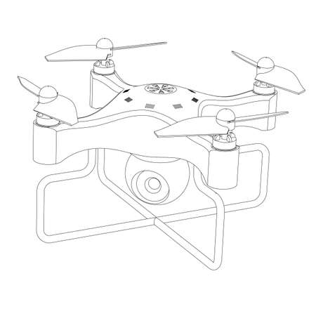 airborne: Quadrocopter with a video camera the close up isolated on a white background