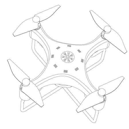 aerospace: Quadrocopter with a video camera the close up isolated on a white background