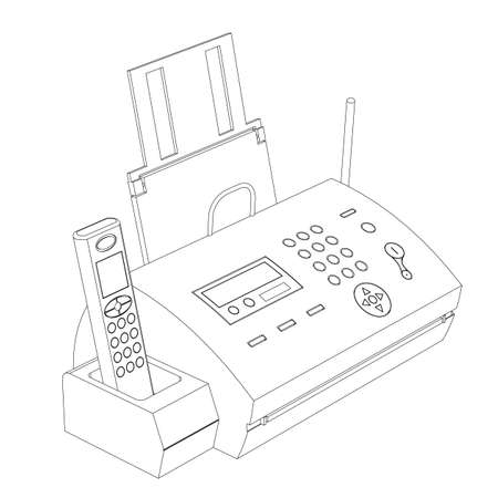 Fax contour on a white background with phone and the antenna Vector