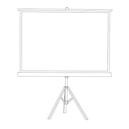 tripod projector: The white screen for a projector on a tripod