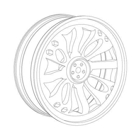 alloy wheel: Contour of an automobile cast disk on a white background Illustration