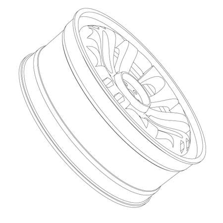 race for time: Contour of an automobile cast disk on a white background Illustration