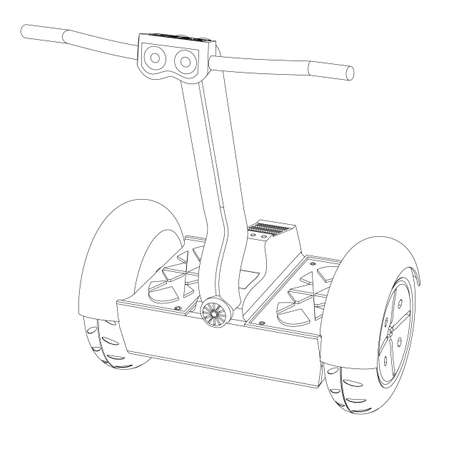 two wheel: Two wheel segway on a white background the isolated contour
