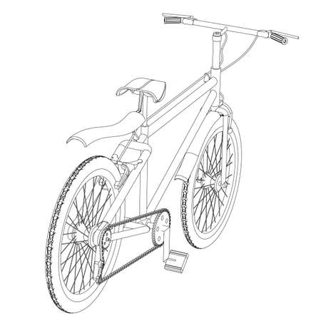 bicycling: The sports bicycle the isolated contour on a white background close up
