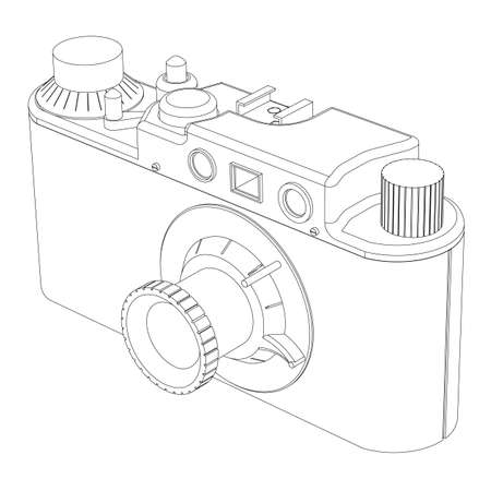 kammare: Old film chamber on a white background the isolated contour