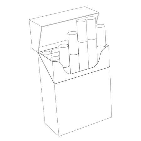 carcinogen: Un paquete de cigarrillos aislado en un circuito de fondo blanco Vectores