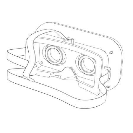 inmersion: Casco de la realidad virtual de un cierre para arriba en un fondo blanco Vectores