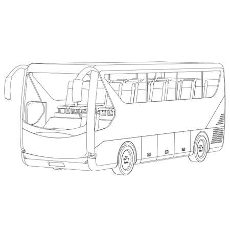 Big Bus contour on a white background Vettoriali
