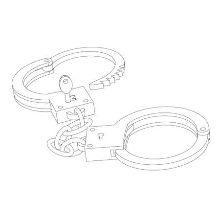 lockup: Iron handcuffs opened with a key closeup on a white background isolated circuit Illustration