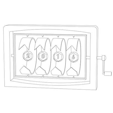 dessin au trait: Calendrier 2016 nouvel abr�g� dessin sur fond blanc isol� aper�u