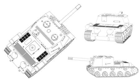 Panzer: Panzer selfpropelled artillery unit outline drawing on a white background isolated Illustration