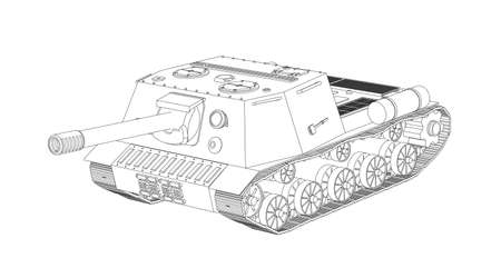 battalion: Panzer selfpropelled artillery unit outline drawing on a white background isolated Illustration
