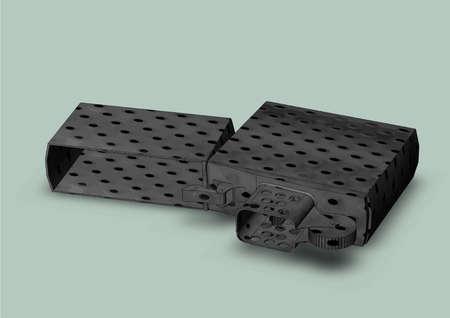cigar shape: Lighter gasoline steel drawing isolatedon grey background