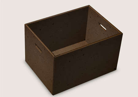handles: Cardboard box with handles on a grey background  close up Illustration