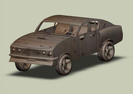 Passenger car closeup wood drawing isolated Vector