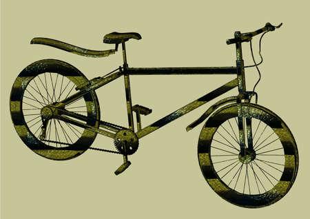 sideways: The sports bicycle sideways leather snake Illustration